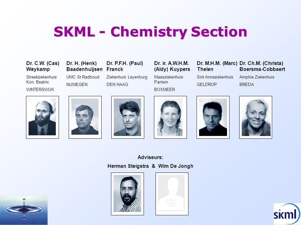 SKML - Chemistry Section Dr. P.F.H. (Paul) Franck Ziekenhuis Leyenburg DEN HAAG Dr. H. (Henk) Baadenhuijsen UMC St Radboud NIJMEGEN Dr. C.W. (Cas) Wey