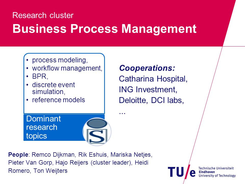 Research cluster Business Process Management People: Remco Dijkman, Rik Eshuis, Mariska Netjes, Pieter Van Gorp, Hajo Reijers (cluster leader), Heidi Romero, Ton Weijters process modeling, workflow management, BPR, discrete event simulation, reference models Dominant research topics Cooperations: Catharina Hospital, ING Investment, Deloitte, DCI labs,...