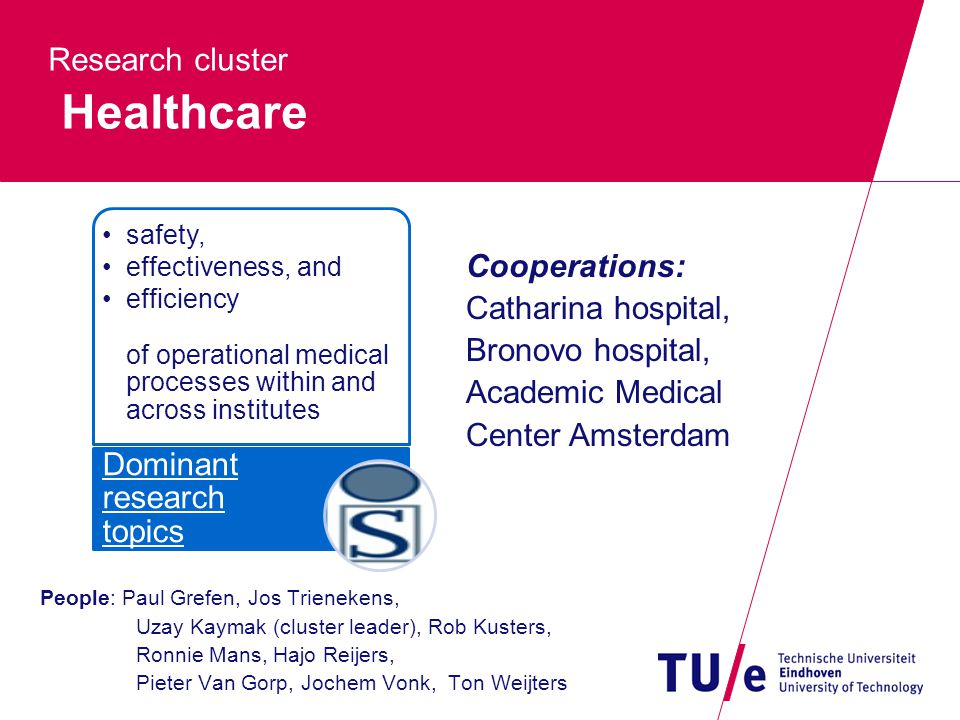 Research cluster Healthcare People: Paul Grefen, Jos Trienekens, Uzay Kaymak (cluster leader), Rob Kusters, Ronnie Mans, Hajo Reijers, Pieter Van Gorp, Jochem Vonk, Ton Weijters safety, effectiveness, and efficiency of operational medical processes within and across institutes Dominant research topics Cooperations: Catharina hospital, Bronovo hospital, Academic Medical Center Amsterdam