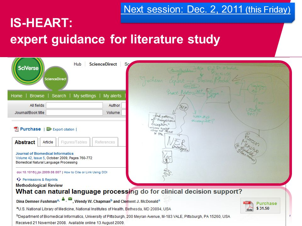 IS-HEART: expert guidance for literature study Next session: Dec. 2, 2011 (this Friday)