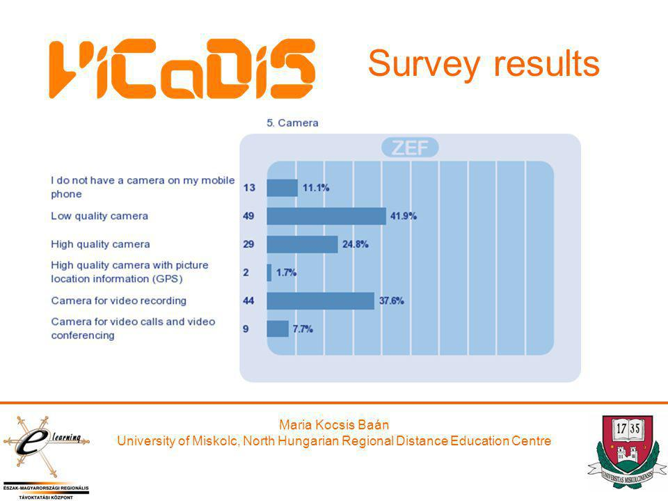 Maria Kocsis Baán University of Miskolc, North Hungarian Regional Distance Education Centre Survey results