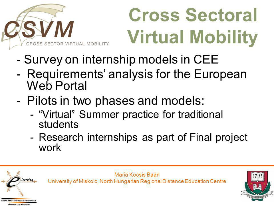 Maria Kocsis Baán University of Miskolc, North Hungarian Regional Distance Education Centre Cross Sectoral Virtual Mobility - Survey on internship mod