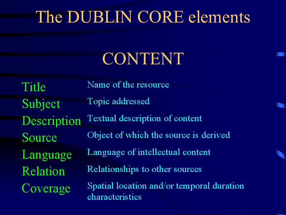 Resource Description Models RFC 1807 Request For Comments (Consensus standard of the Internet Engineering Task Force IAFA Internet Anonymous FTP Archive SOIF Summary of Object Interchange Formats Dublin Core OCLC-driven