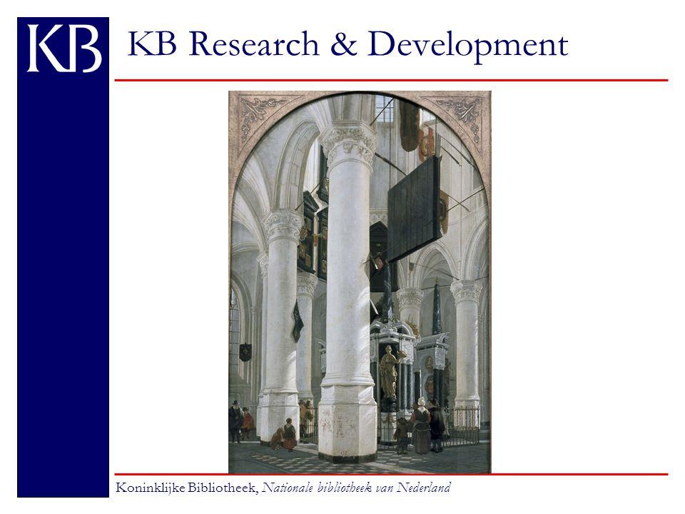 KB Research & Development Koninklijke Bibliotheek, Nationale bibliotheek van Nederland