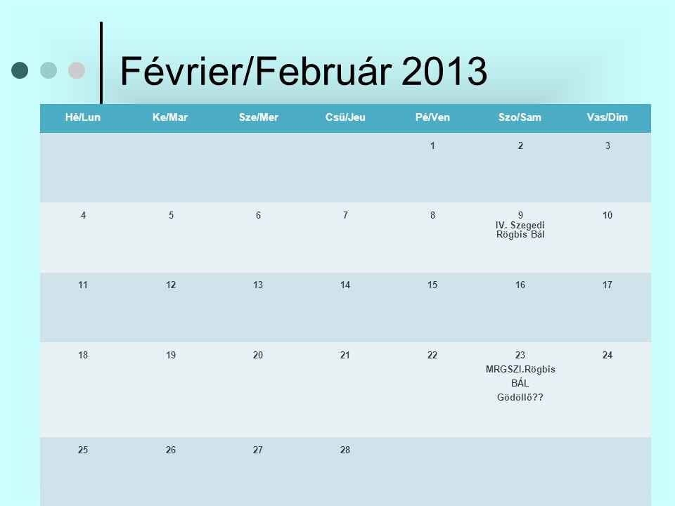 Février/Február 2013 Hé/LunKe/MarSze/MerCsü/JeuPé/VenSzo/SamVas/Dim 123 45678 9 IV.
