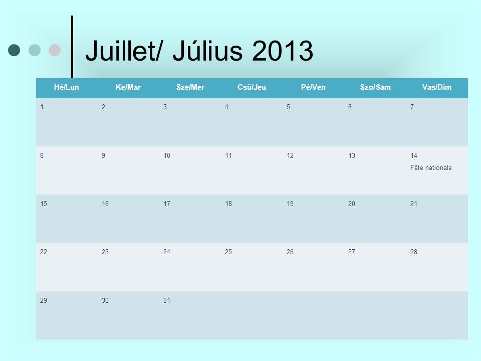 Juillet/ Július 2013 Hé/LunKe/MarSze/MerCsü/JeuPé/VenSzo/SamVas/Dim 1234567 89 10 111213 14 Fête nationale 15161718192021 22232425262728 293031