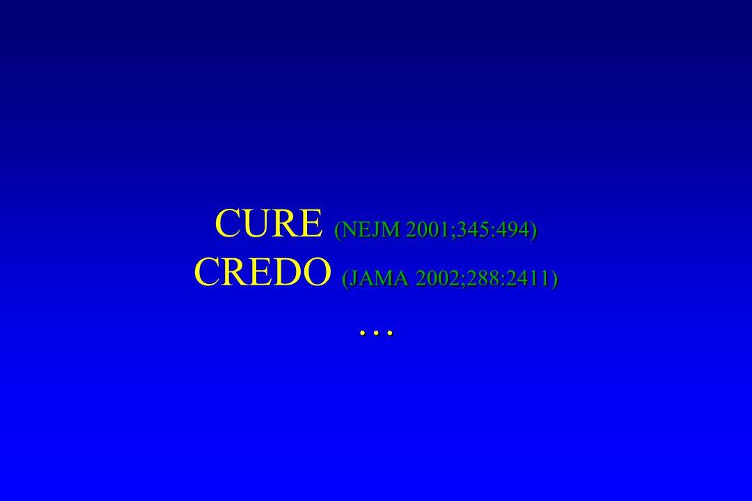 (NEJM 2001;345:494) CURE (NEJM 2001;345:494) (JAMA 2002;288:2411) CREDO (JAMA 2002;288:2411)…