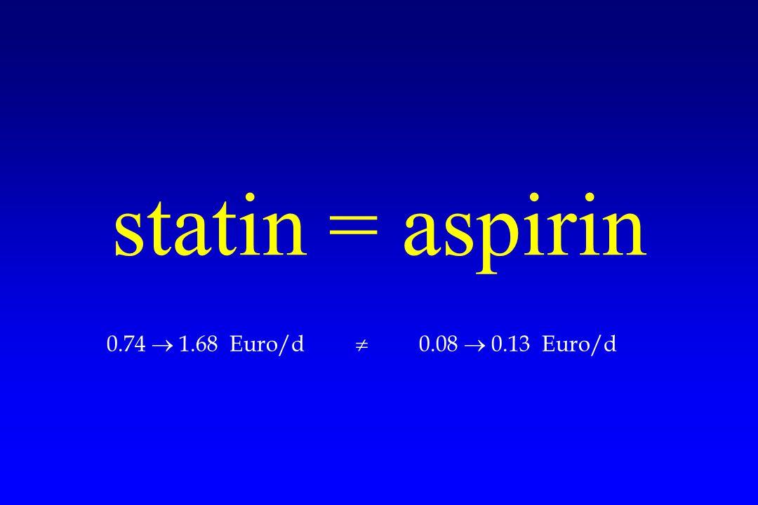 statin = aspirin 0.74  1.68 Euro/d  0.08  0.13 Euro/d