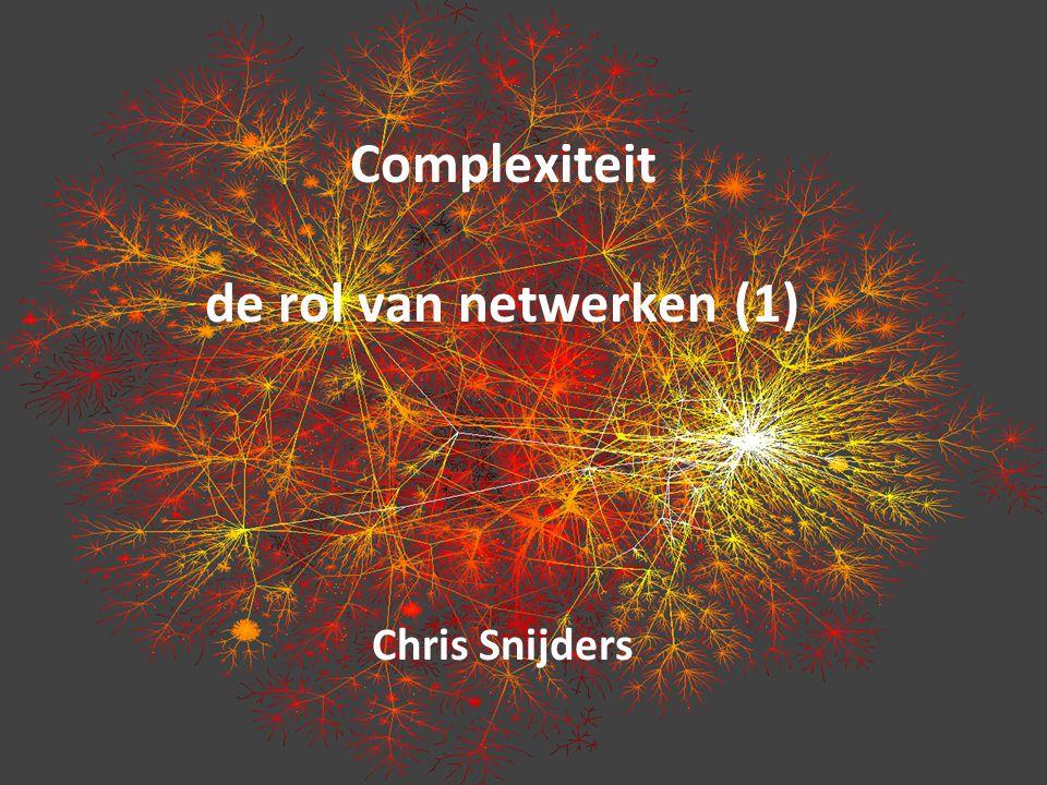 Complexiteit de rol van netwerken (1) Chris Snijders