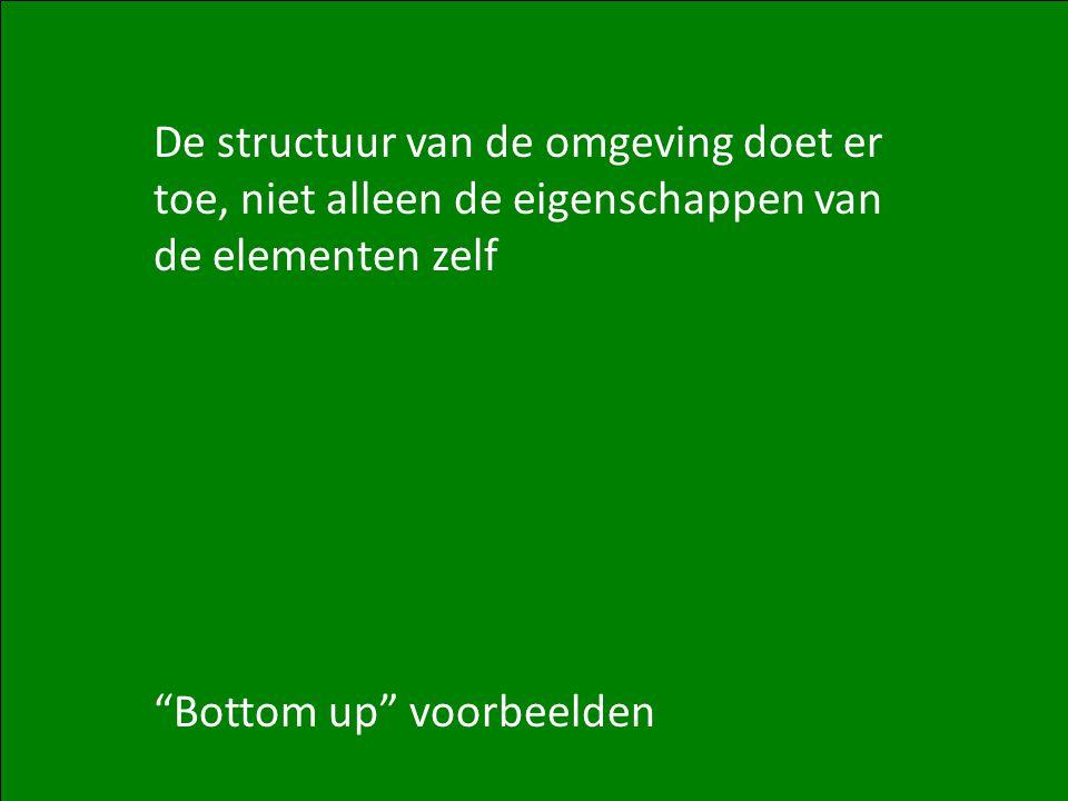 10 De structuur van de omgeving doet er toe, niet alleen de eigenschappen van de elementen zelf Bottom up voorbeelden