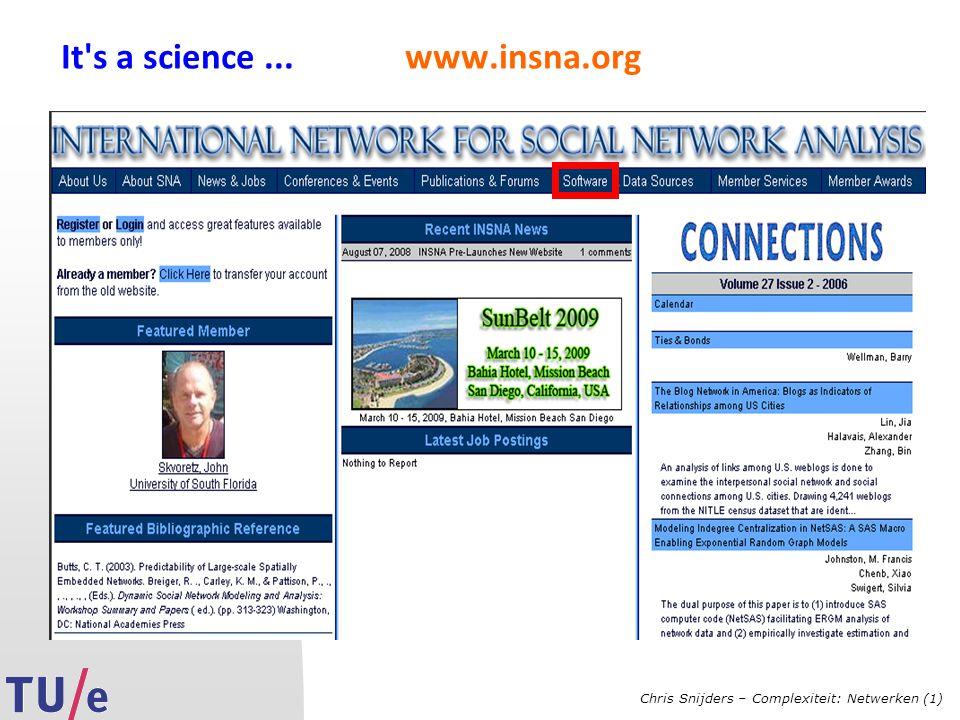 Chris Snijders – Complexiteit: Netwerken (1) It s a science... www.insna.org