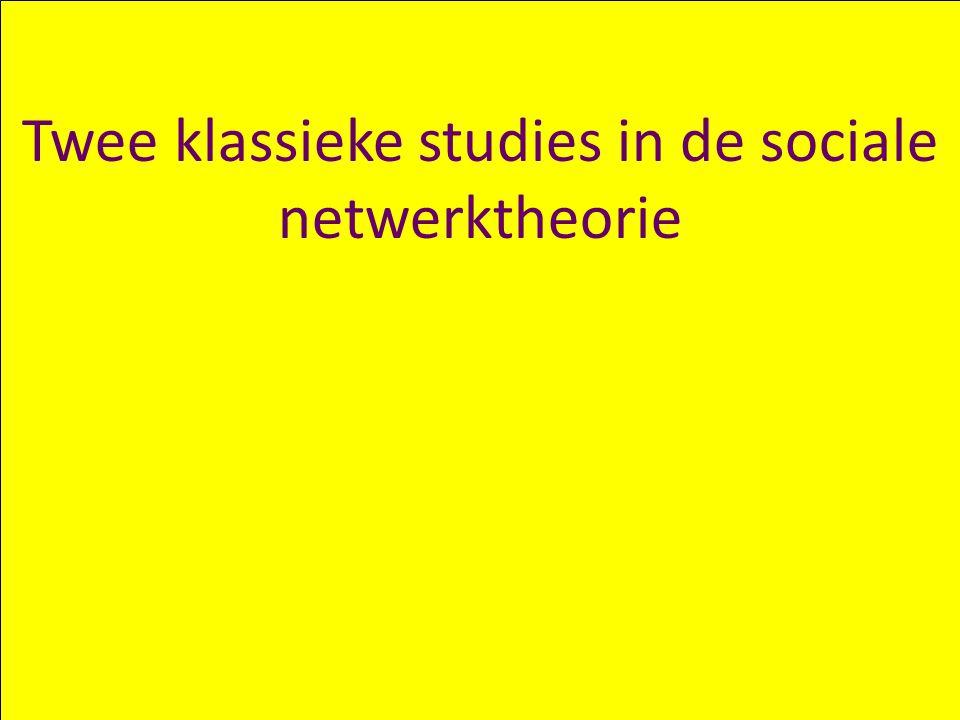 Chris Snijders – Complexiteit: Netwerken (1) 18 Twee klassieke studies in de sociale netwerktheorie