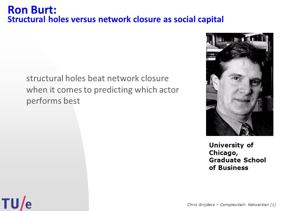 Chris Snijders – Complexiteit: Netwerken (1) Ron Burt: Structural holes versus network closure as social capital structural holes beat network closure when it comes to predicting which actor performs best University of Chicago, Graduate School of Business