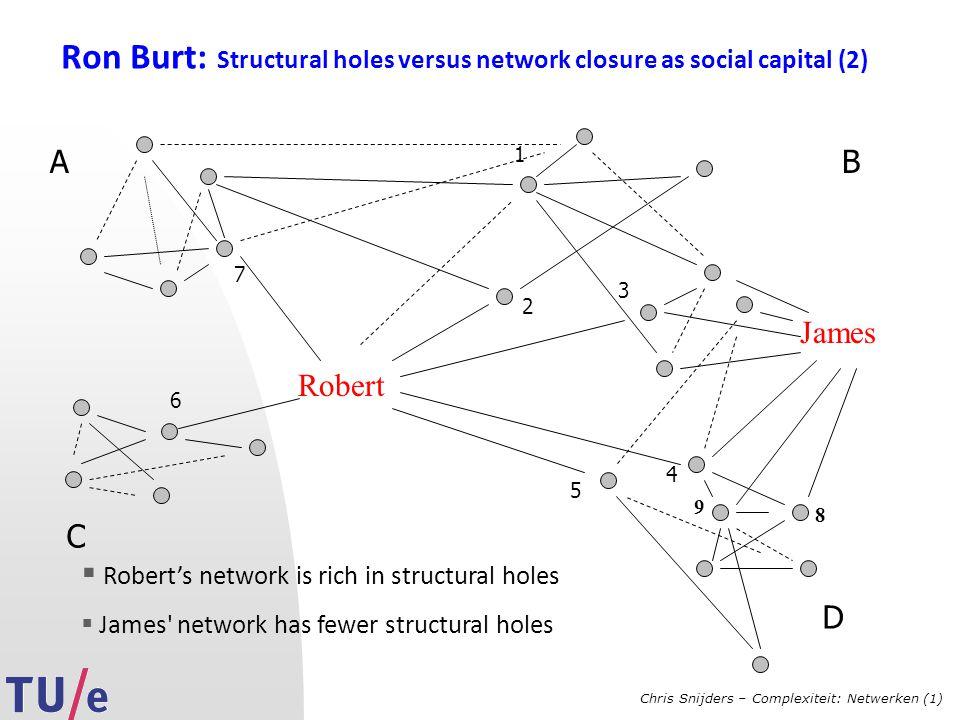Chris Snijders – Complexiteit: Netwerken (1) Ron Burt: Structural holes versus network closure as social capital (2) Robert AB C 1 2 3 4 5 6 7 James  Robert's network is rich in structural holes  James network has fewer structural holes 8 9 D