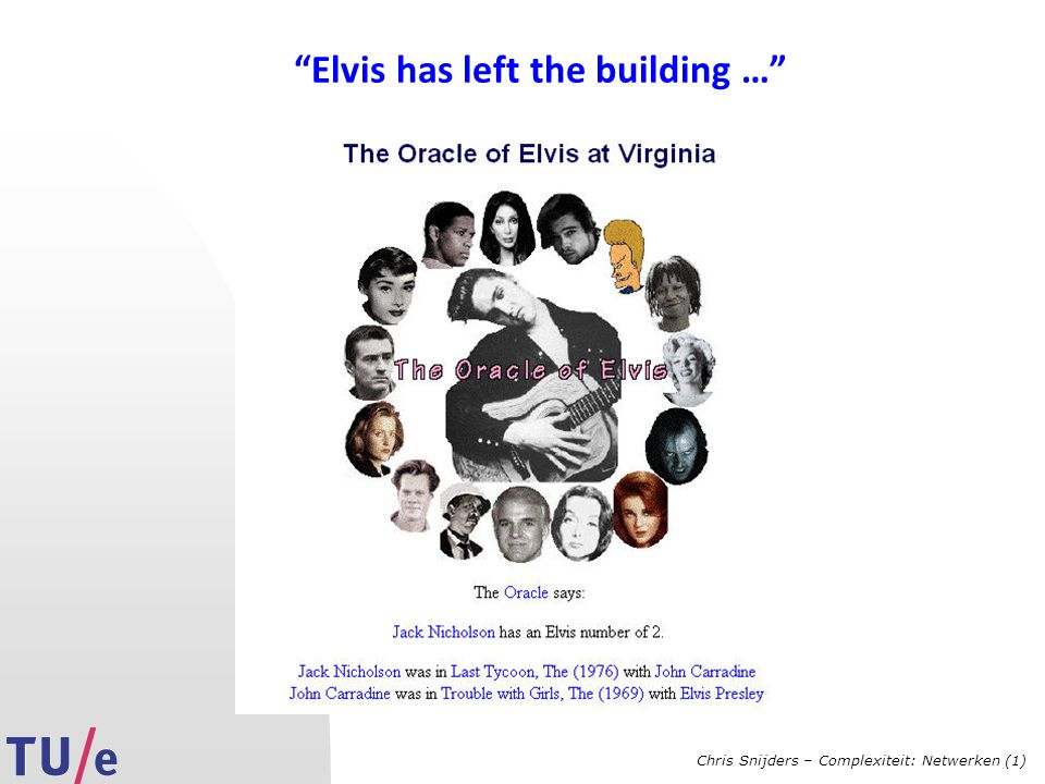 Chris Snijders – Complexiteit: Netwerken (1) Elvis has left the building …