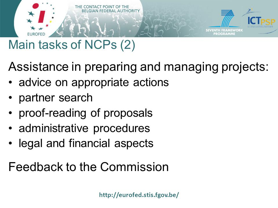 http://eurofed.stis.fgov.be/ Structure of NCPs in Belgium