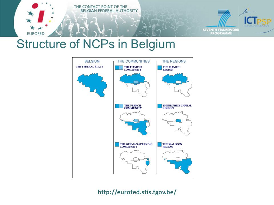 http://eurofed.stis.fgov.be/ Structure of NCPs in Belgium (2) Reflects the institutional structure in BE: community, regional, federal levels Each authority is responsible for its NCPs: 5 Belgian NCP systems