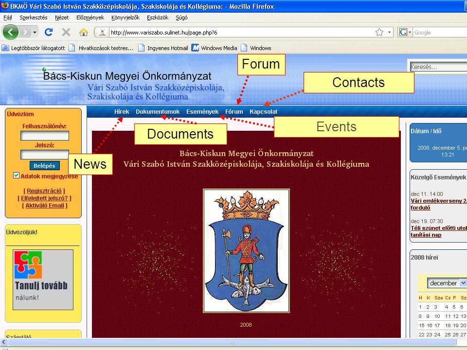 News DocumentsContactsForumEvents