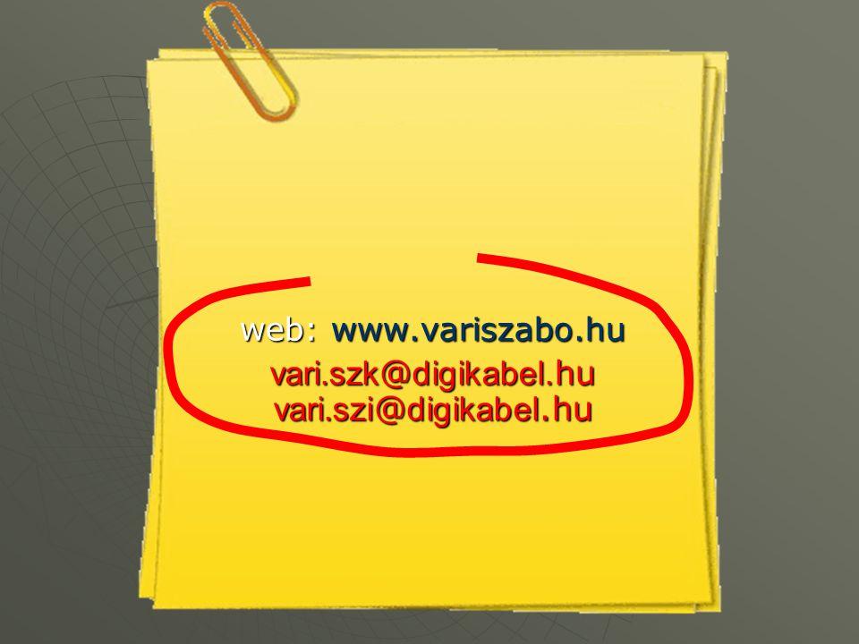 web: www.variszabo.hu vari.szk @ digikabel. hu vari.szi @ digikabel.hu