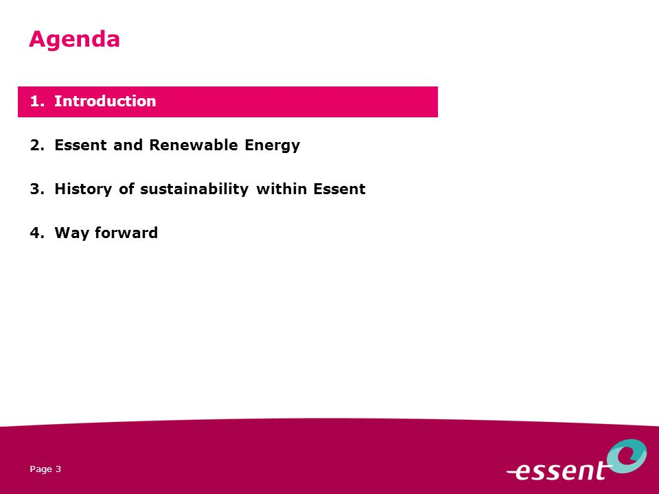 Page 3 1.Introduction 2.Essent and Renewable Energy 3.History of sustainability within Essent 4.Way forward Agenda