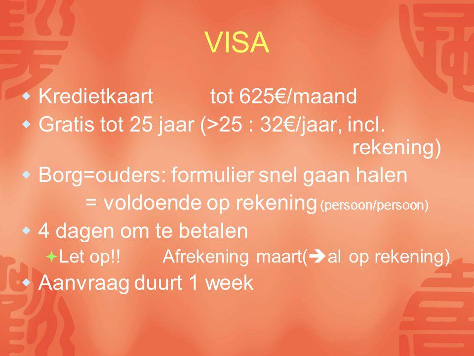 VISA  Kredietkaart tot 625€/maand  Gratis tot 25 jaar (>25 : 32€/jaar, incl. rekening)  Borg=ouders: formulier snel gaan halen = voldoende op reken