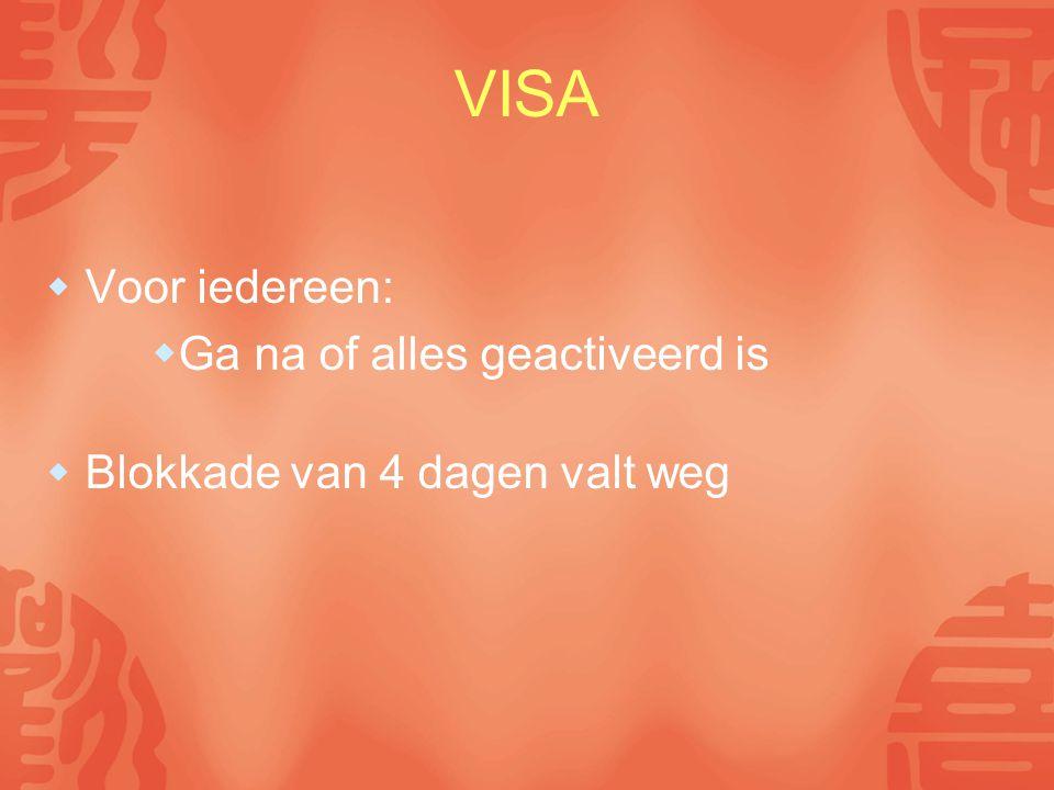 VISA  Voor iedereen:  Ga na of alles geactiveerd is  Blokkade van 4 dagen valt weg