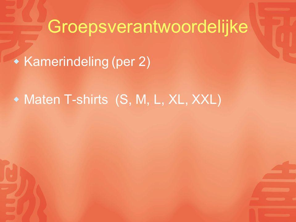 Groepsverantwoordelijke  Kamerindeling (per 2)  Maten T-shirts (S, M, L, XL, XXL)