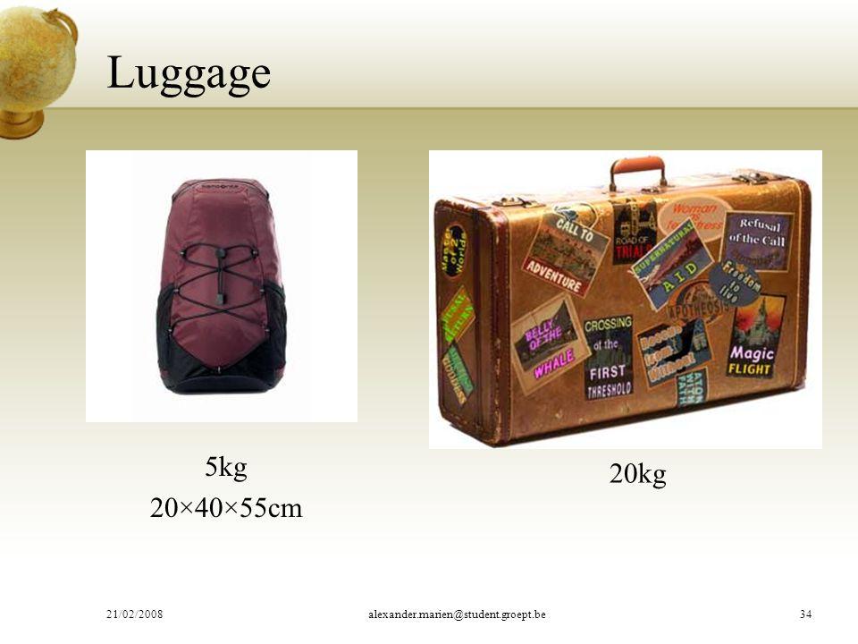 Luggage 5kg 20×40×55cm 20kg 21/02/2008alexander.marien@student.groept.be34