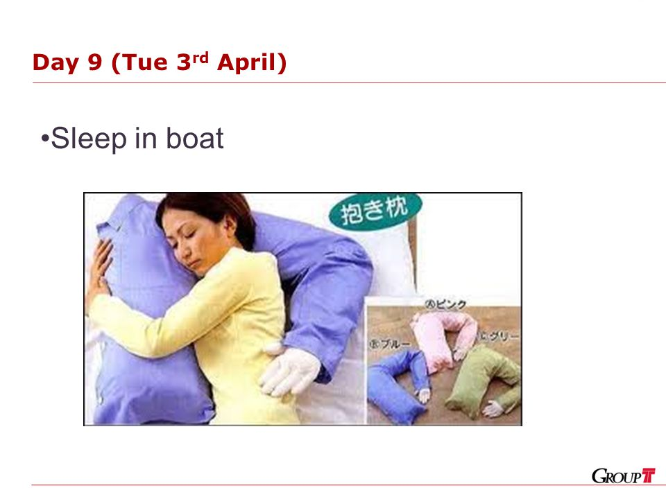 Day 9 (Tue 3 rd April) Sleep in boat