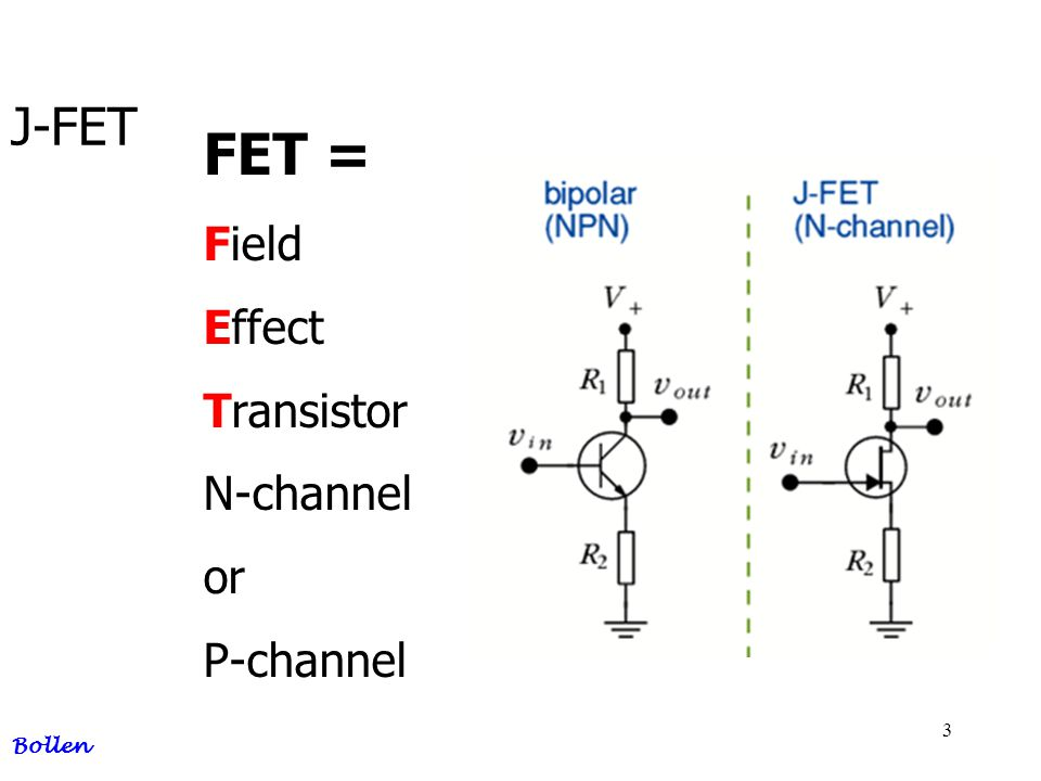 3 J-FET Bollen FET = Field Effect Transistor N-channel or P-channel