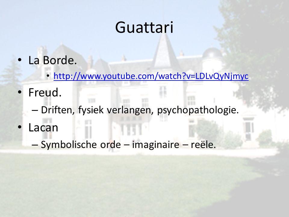 Guattari La Borde. http://www.youtube.com/watch?v=LDLvQyNjmyc Freud. – Driften, fysiek verlangen, psychopathologie. Lacan – Symbolische orde – imagina