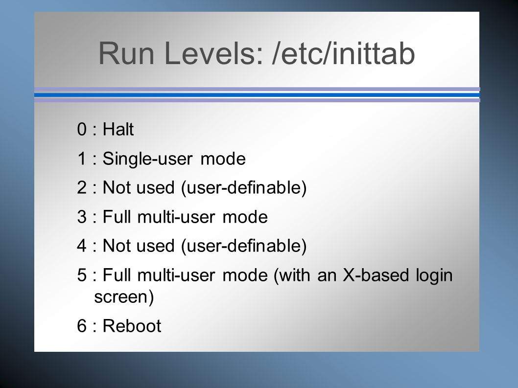 Run Levels: /etc/inittab 0 : Halt 1 : Single-user mode 2 : Not used (user-definable) 3 : Full multi-user mode 4 : Not used (user-definable) 5 : Full m