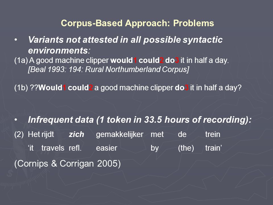 Corpus-Based Approach: Problems Variants not attested in all possible syntactic environments: (1a) A good machine clipper would1 could2 do3 it in half a day.