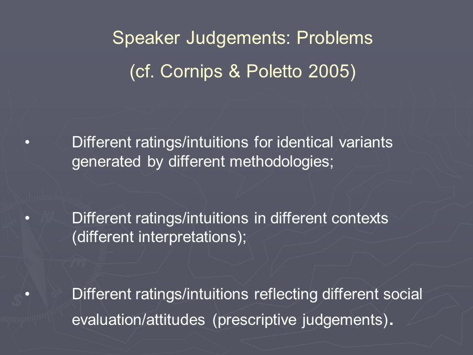 Speaker Judgements: Problems (cf.