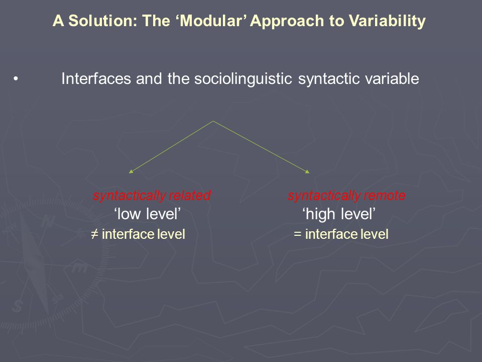 A Solution: The 'Modular' Approach to Variability Interfaces and the sociolinguistic syntactic variable syntactically related syntactically remote 'lo