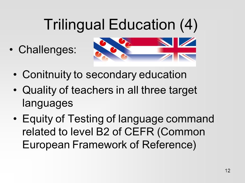 Trilingual Education (4) Challenges: 12 Conitnuity to secondary education Quality of teachers in all three target languages Equity of Testing of language command related to level B2 of CEFR (Common European Framework of Reference)