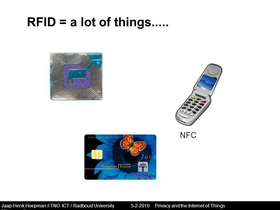 Jaap-Henk Hoepman // TNO ICT / Radboud University Nijmegen // RFID = a lot of things.....