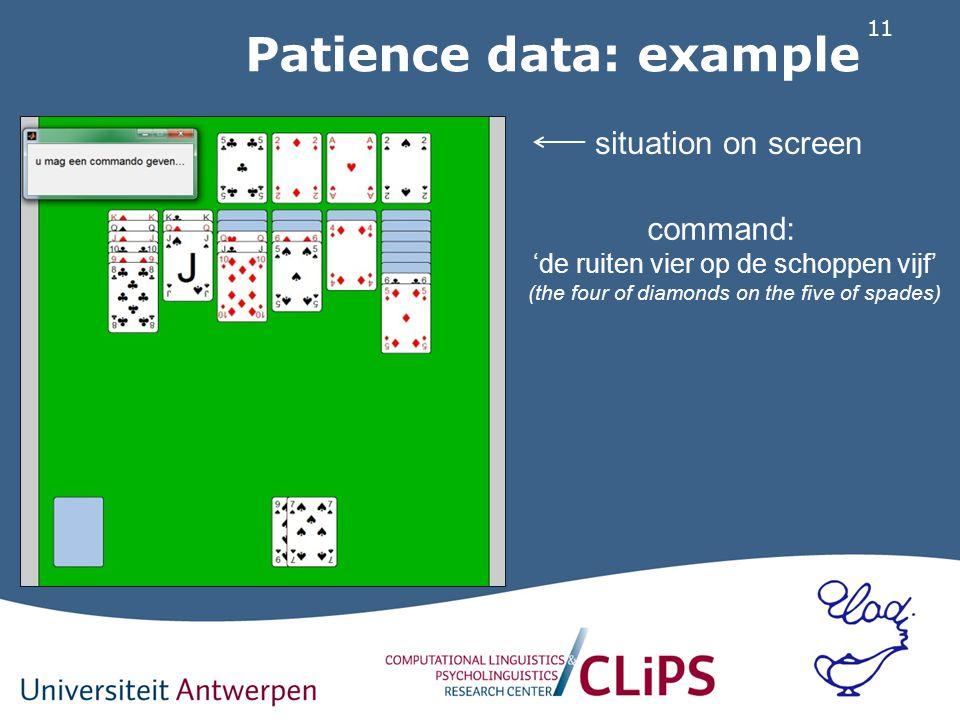 11 Patience data: example situation on screen command: 'de ruiten vier op de schoppen vijf' (the four of diamonds on the five of spades)