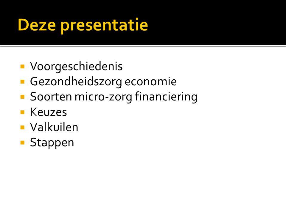  Voorgeschiedenis  Gezondheidszorg economie  Soorten micro-zorg financiering  Keuzes  Valkuilen  Stappen