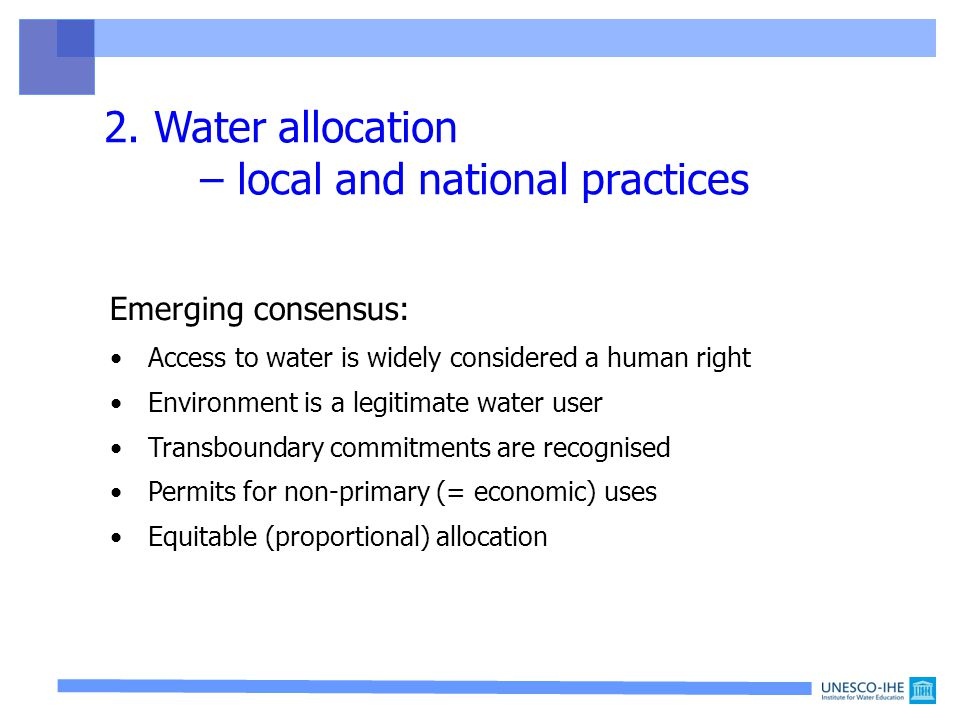 1. Benefit sharing 4. Towards water rationality