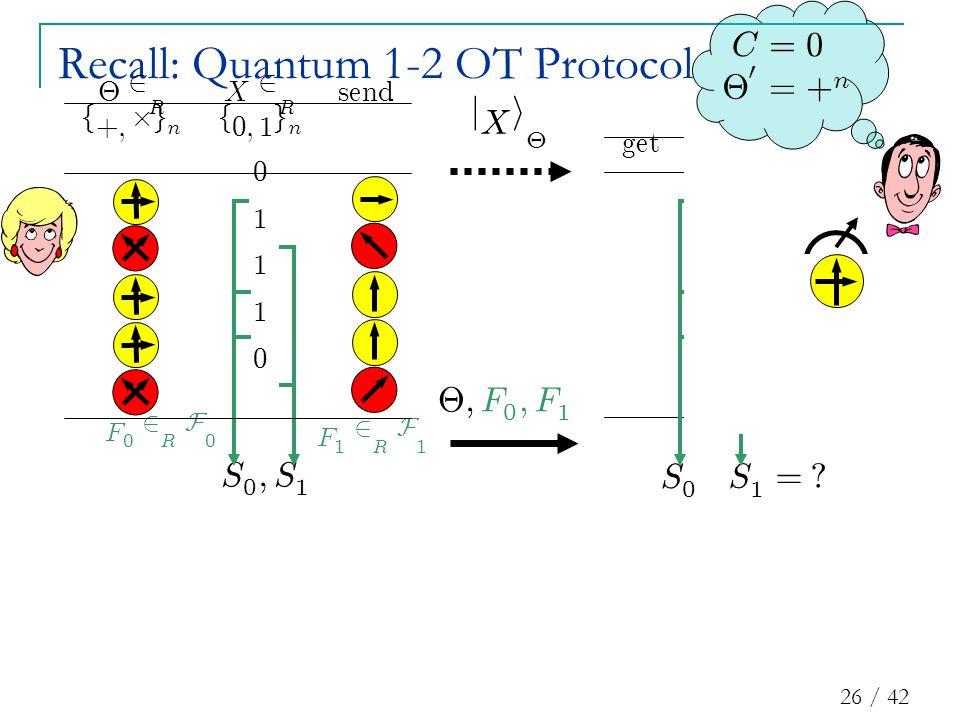 26 / 42 ge t X 0 0 1 1 0 Recall: Quantum 1-2 OT Protocol j X i £ S 0 ; S 1 F 1 2 R F 1 F 0 2 R F 0 £ ; F 0 ; F 1 S 1 = .
