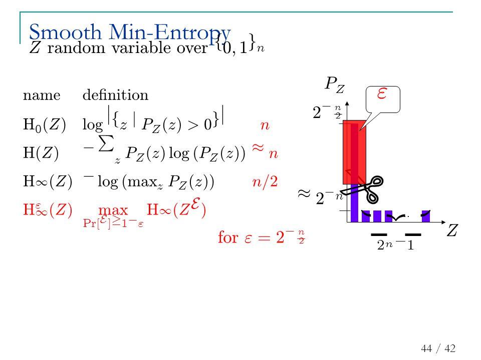 44 / 42 … ¼ 2 ¡ n |{z} 2 n ¡ 1 2 ¡ n 2 Z P Z Smooth Min-Entropy  f or = 2 ¡ n 2 Z ran d omvar i a bl eover f 0 ; 1 g n
