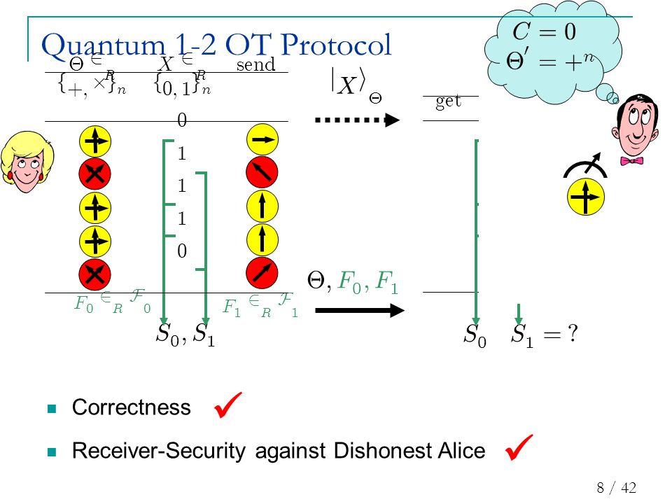8 / 42 ge t X 0 0 1 1 0 Quantum 1-2 OT Protocol j X i £ S 0 ; S 1 F 1 2 R F 1 F 0 2 R F 0 £ ; F 0 ; F 1 S 1 = .