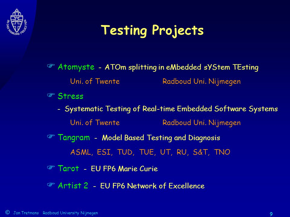 © Jan Tretmans Radboud University Nijmegen 9 Testing Projects  Atomyste -ATOm splitting in eMbedded sYStem TEsting Uni.