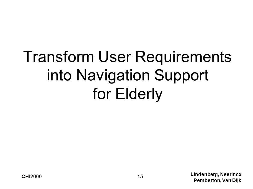 Lindenberg, Neerincx Pemberton, Van Dijk CHI200015 Transform User Requirements into Navigation Support for Elderly