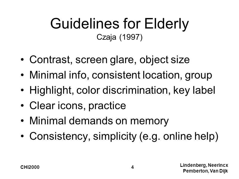 Lindenberg, Neerincx Pemberton, Van Dijk CHI20004 Guidelines for Elderly Czaja (1997) Contrast, screen glare, object size Minimal info, consistent loc