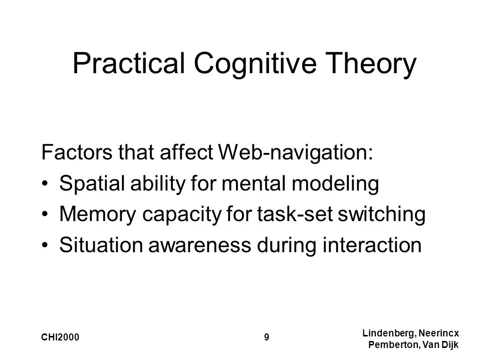 Lindenberg, Neerincx Pemberton, Van Dijk CHI20009 Practical Cognitive Theory Factors that affect Web-navigation: Spatial ability for mental modeling Memory capacity for task-set switching Situation awareness during interaction