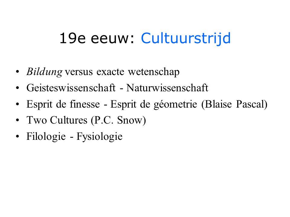 19e eeuw: Cultuurstrijd Bildung versus exacte wetenschap Geisteswissenschaft - Naturwissenschaft Esprit de finesse - Esprit de géometrie (Blaise Pascal) Two Cultures (P.C.