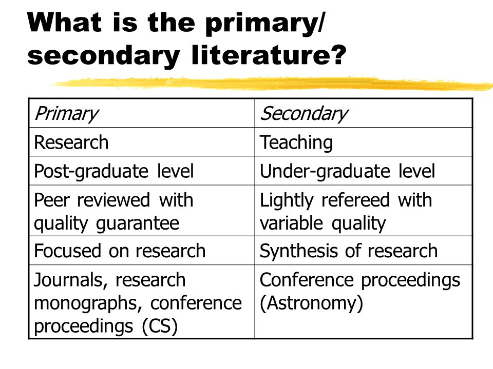 What is the primary/ secondary literature.