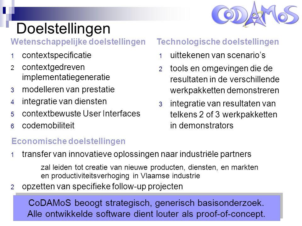 Leuven, 14 oktober 2004 Doelstellingen 1 contextspecificatie 2 contextgedreven implementatiegeneratie 3 modelleren van prestatie 4 integratie van diensten 5 contextbewuste User Interfaces 6 codemobiliteit 1 uittekenen van scenario's 2 tools en omgevingen die de resultaten in de verschillende werkpakketten demonstreren 3 integratie van resultaten van telkens 2 of 3 werkpakketten in demonstrators CoDAMoS beoogt strategisch, generisch basisonderzoek.